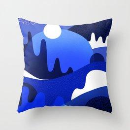 Terrazzo landscape blue night Throw Pillow