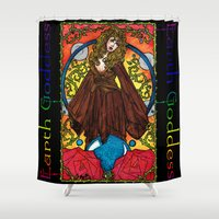 stevie nicks Shower Curtains featuring Earth Goddess by Lynette K.