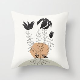 Natural Line Art - Plant Roots Throw Pillow