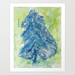 Snowy Christmas Tree - Painting by young artist with Down syndrome Art Print