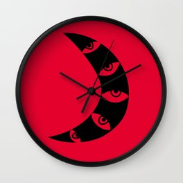 Black Crescent Moon on Red Wall Clock