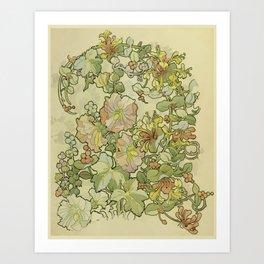 "Alphonse Mucha ""Printed textile design with hollyhocks in foreground"" Art Print"