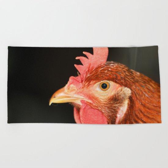 Serious hen Beach Towel
