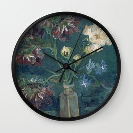 Vincent Van Gogh - Small Bottle with Peonies and Blue Delphiniums Wall Clock