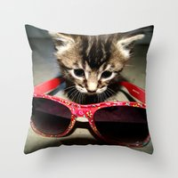 kit king Throw Pillows featuring Hip Kit by americansummers