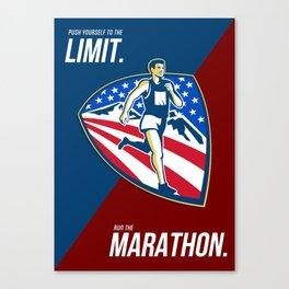 American Marathon Runner Push Limits Retro Poster Canvas Print