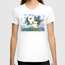 Watercolor Bouquet in Landscape. Flowers in a Jug by the Lake Shore T-shirt