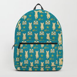 Ginger cat and Fish bone pattern Backpack