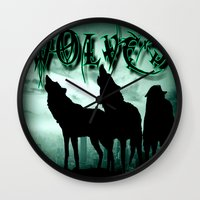 wolves Wall Clocks featuring WolveS by shannon's art space