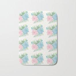 Pastel Succulent Watercolor Bath Mat