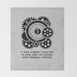 George Orwell - 1984 - Clock Striking 13 Throw Blanket