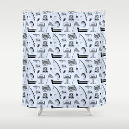 Gone Fishing // Light Blue Shower Curtain