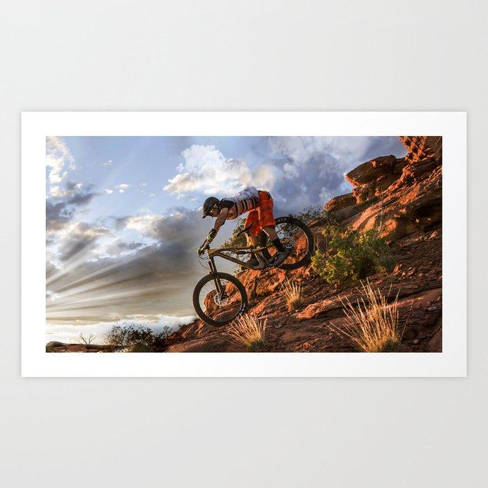 Mountain Bike in Rugged Mountain Terrain in Sunbeams Art Print