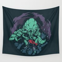 kraken Wall Tapestries featuring The Kraken. by Jorge Tirado