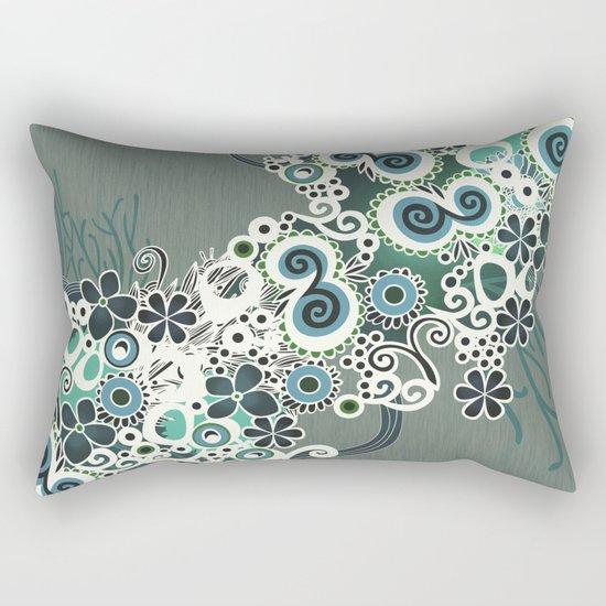 Diagonal flower – blue and green fiber Rectangular Pillow