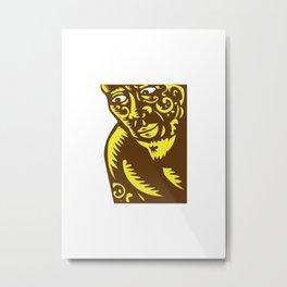 Tagaloa Peeking Woodcut Metal Print