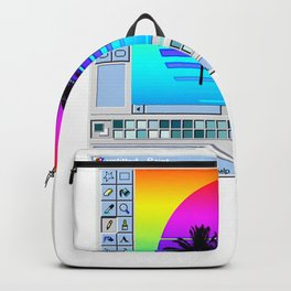 Paint Window Aesthetic T- design Gift Retro Wave Sunset graphic Backpack