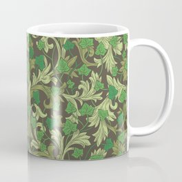 Green ivy with ornament on dark brown background Coffee Mug