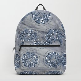 Indigo citrus diamond foil grey marble Backpack