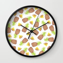 Hand Painted Watercolor Tropical Pineapples Wall Clock