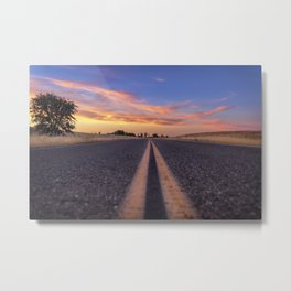 Follow the.... Millville Plains Road at sunset Metal Print