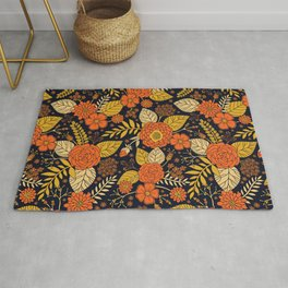 Retro Orange, Yellow, Brown, & Navy Floral Pattern Rug
