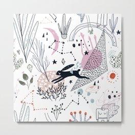 Floral Doodle with a Rabbit Metal Print