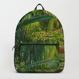 Claude Monet Impressionist Landscape Oil Painting-The Japanese Footbridge and the Water Lily Pool Backpack