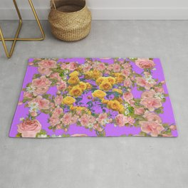 PINK & YELLOW SPRING ROSE GARDEN LILAC PURPLE VIGNETTE Rug