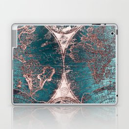 Antique World Map Pink Quartz Teal Blue by Nature Magick Laptop & iPad Skin