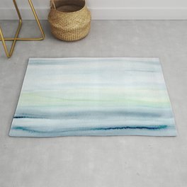 Blue Indigo Ombre Watercolor Abstract Painting  Rug