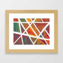 Geometric doodle pattern - multicolor Framed Art Print