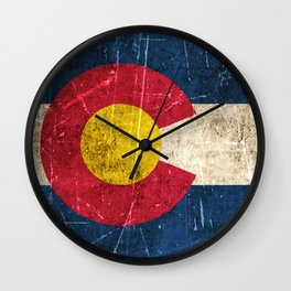 Vintage Aged and Scratched Colorado Flag Wall Clock