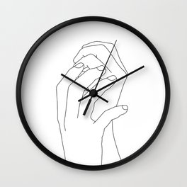 Hands line drawing illustration - Adra Wall Clock