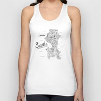 seattle Tank Tops featuring Seattle Map by Claire Lordon