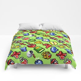 The Legend of Z | retrogaming nostalgia pattern | green Comforters
