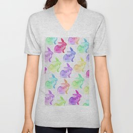 Watercolor Bunnies 1B by Kathy Morton Stanion Unisex V-Neck