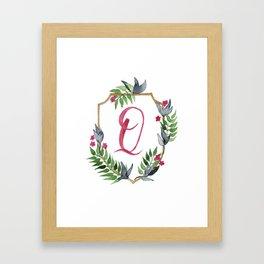 Jungle Gold Monogram Crest Q Framed Art Print