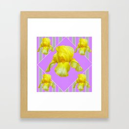 YELLOW SPRING IRIS LILAC GEOMETRIC ART DESIGN Framed Art Print