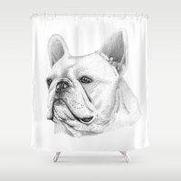 british Shower Curtains featuring British Bulldog  by sarah illustration