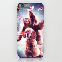 Laser Eyes Space Cat Riding Sloth, Dog - Rainbow iPhone Case