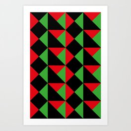 It seems like a very geometrical carapace. Squares and triangular shapes. Red and green and Black. Art Print