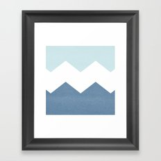 BLUE BLOCK CHEVRON Framed Art Print