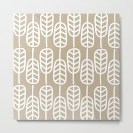 Feather Leaves Minimalist Pattern in White and Neutral Flax Metal Print