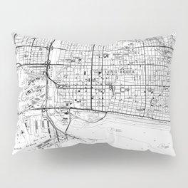 Vintage Map of Long Beach California (1964) BW Pillow Sham
