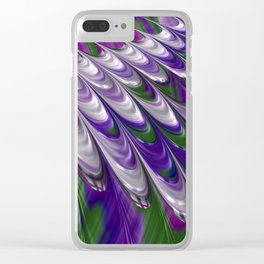 Purple and Green Abstract Clear iPhone Case