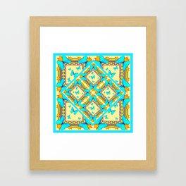 Western Style Turquoise Butterflies Creamy Gold Patterns Art Framed Art Print