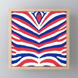 Red White and Blue French Flag Zebra Animal Stripes Framed Mini Art Print
