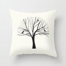 bird tree Throw Pillow