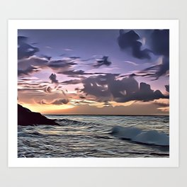 Purple Sky Seascape Airbrush Artwork Art Print
